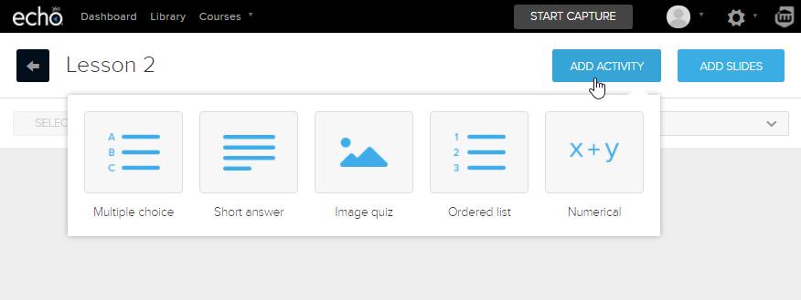 Echo360 polling screenshot (add activity)