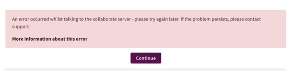 Blackboard Collaborate error message